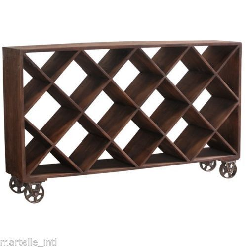 Wine Cabinet Rack Bookcase Industrial Factory Mercantile Style Iron Castors New