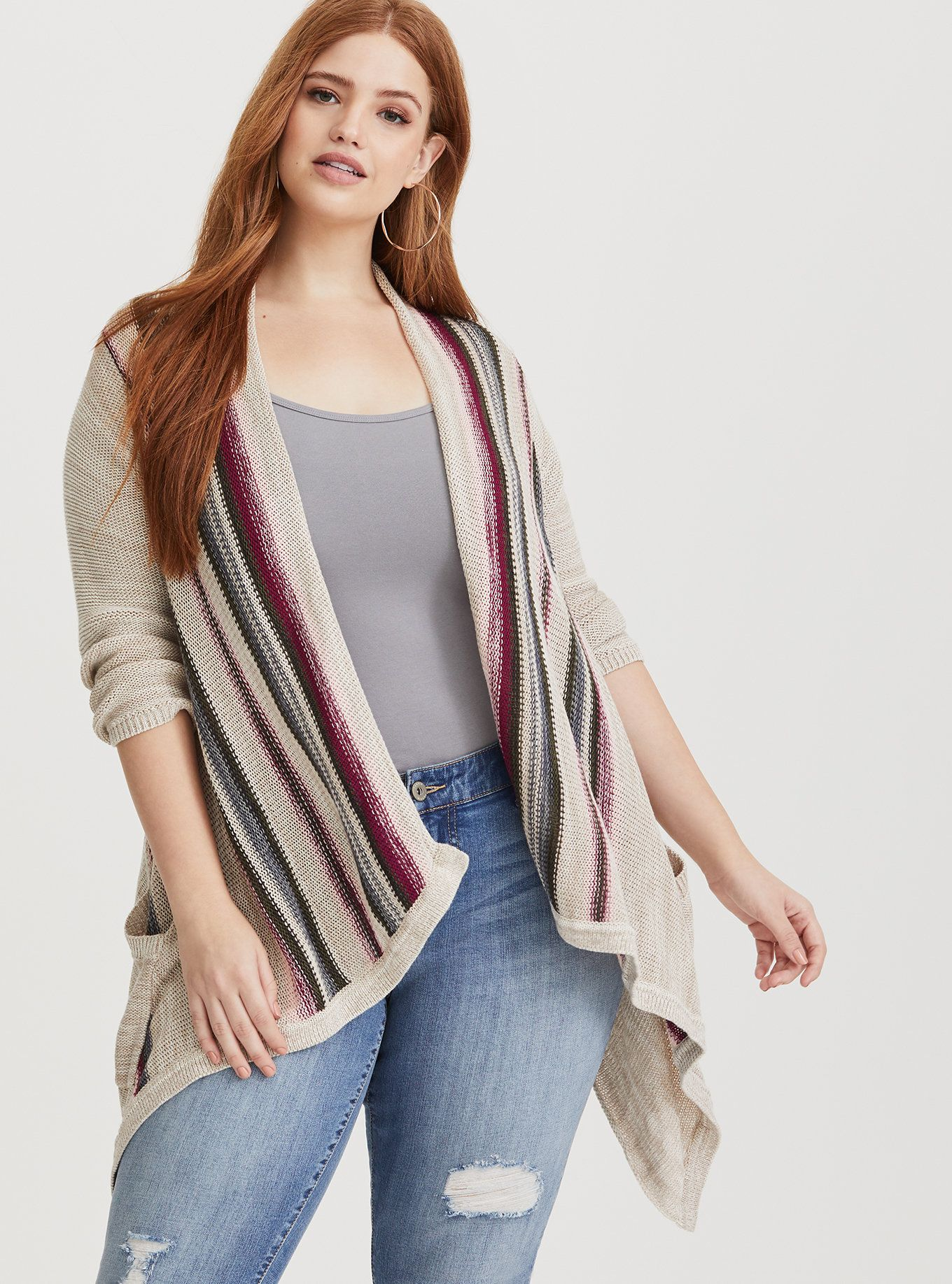 Multi Color Border Striped Open Front Knit Cardigan in 2020