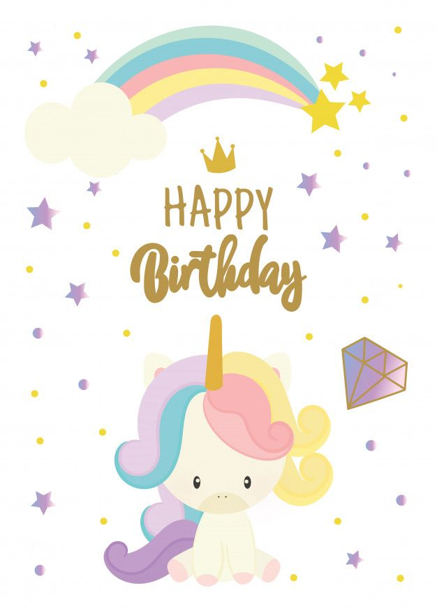 Descarga gratis vectores de Tarjeta del feliz cumpleaños con lindo unicornio scrapbook