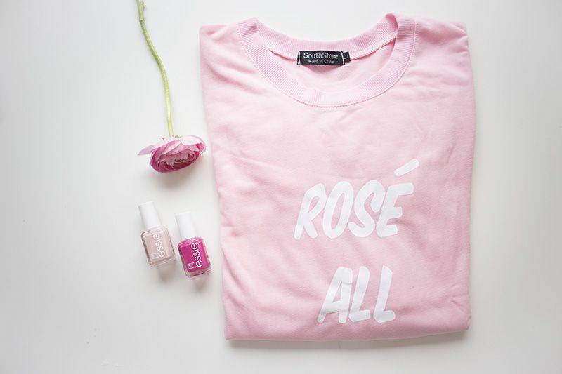 krist.in style pink sweater sheinside essie nailpolish