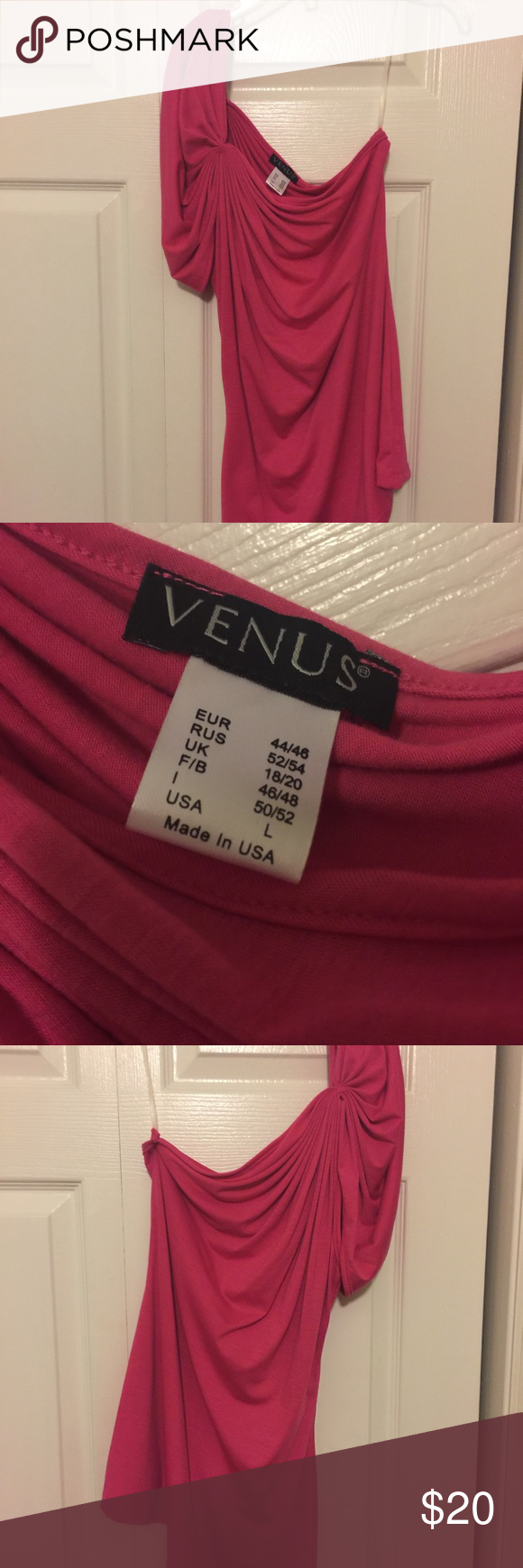 Venus one-shouldered top (size large) Beautiful Venus one-shouldered top. Size large. In excellent condition. Bright pink in color. Venus Tops Blouses