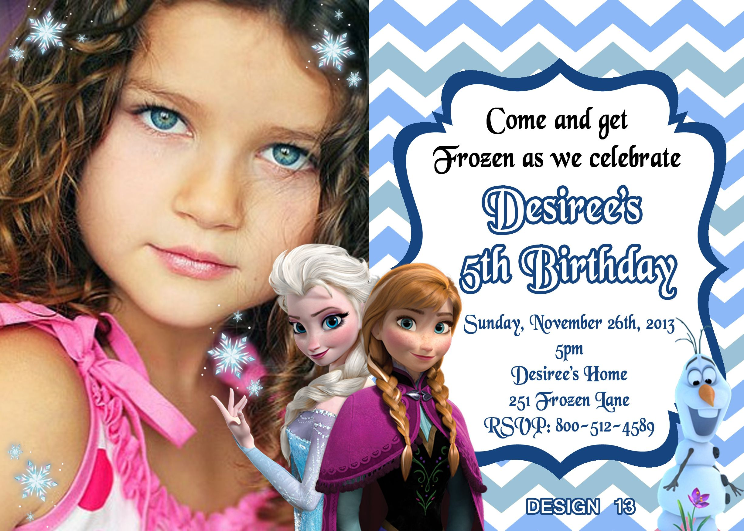 Frozen Movie Chevron Birthday Invitations $8.99 available at www.partyexpressinvitations.com SAME DAY SERVICE