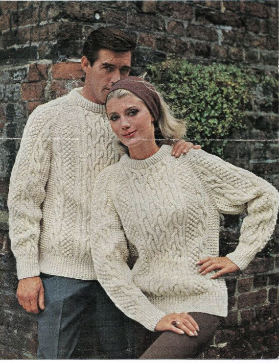 Knitting pattern, men\'s ladies, cable aran knit jumpers, retro ...