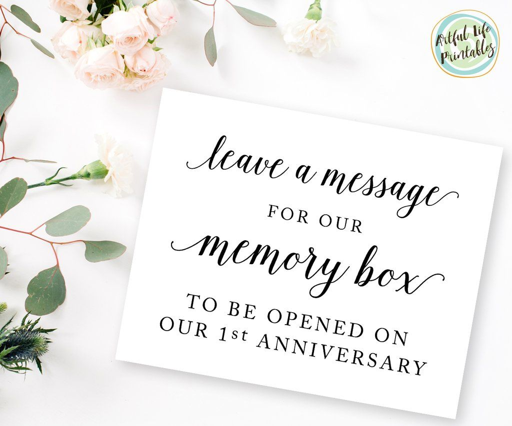 Wedding memory box sign message card for bride and groom wedding