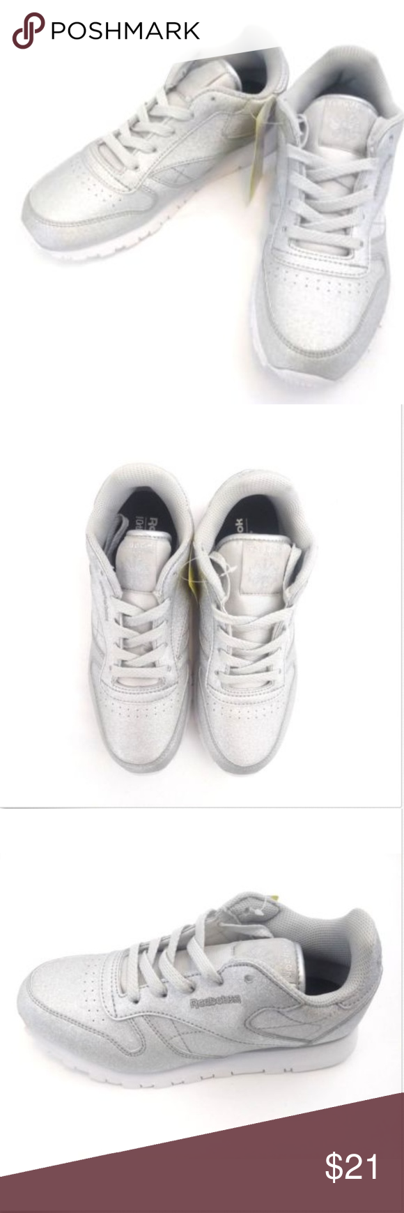 33612ff17387 Reebok In Kids Little Girls Size 3 Youth New Reebok Classic Leather Syn Kids  Shoes Size 3 Silver Met Snow Gray New QTY 1 Condition  New with box Brand   ...