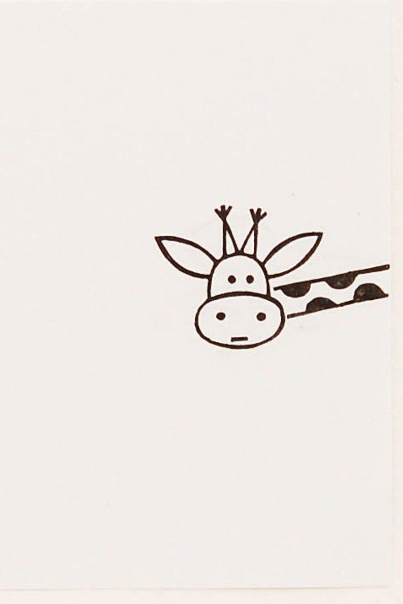 Giraffe Stamp Peekaboo Stamp Giraffe Gift Custom Rubber Stamp Hand Carved Animal Stamps Kid Name Stamp Easy Drawings Cute Little Drawings Cute Drawings