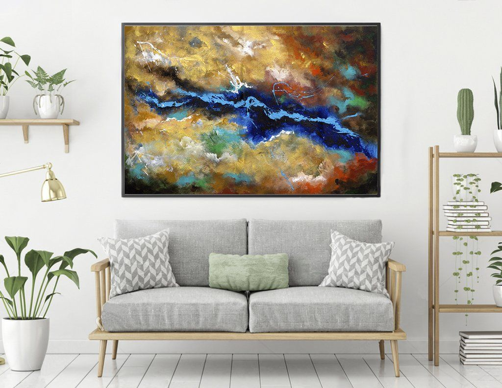 Large abstract wall art horizontal lae in sitting room
