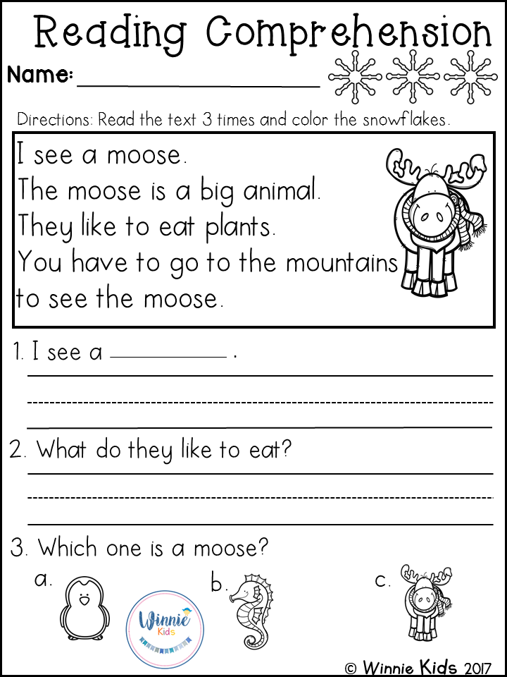 Kindergarten Reading Comprehension Passages - Winter Reading  Comprehension Passages, Reading Comprehension Worksheets, Reading  Comprehension Kindergarten