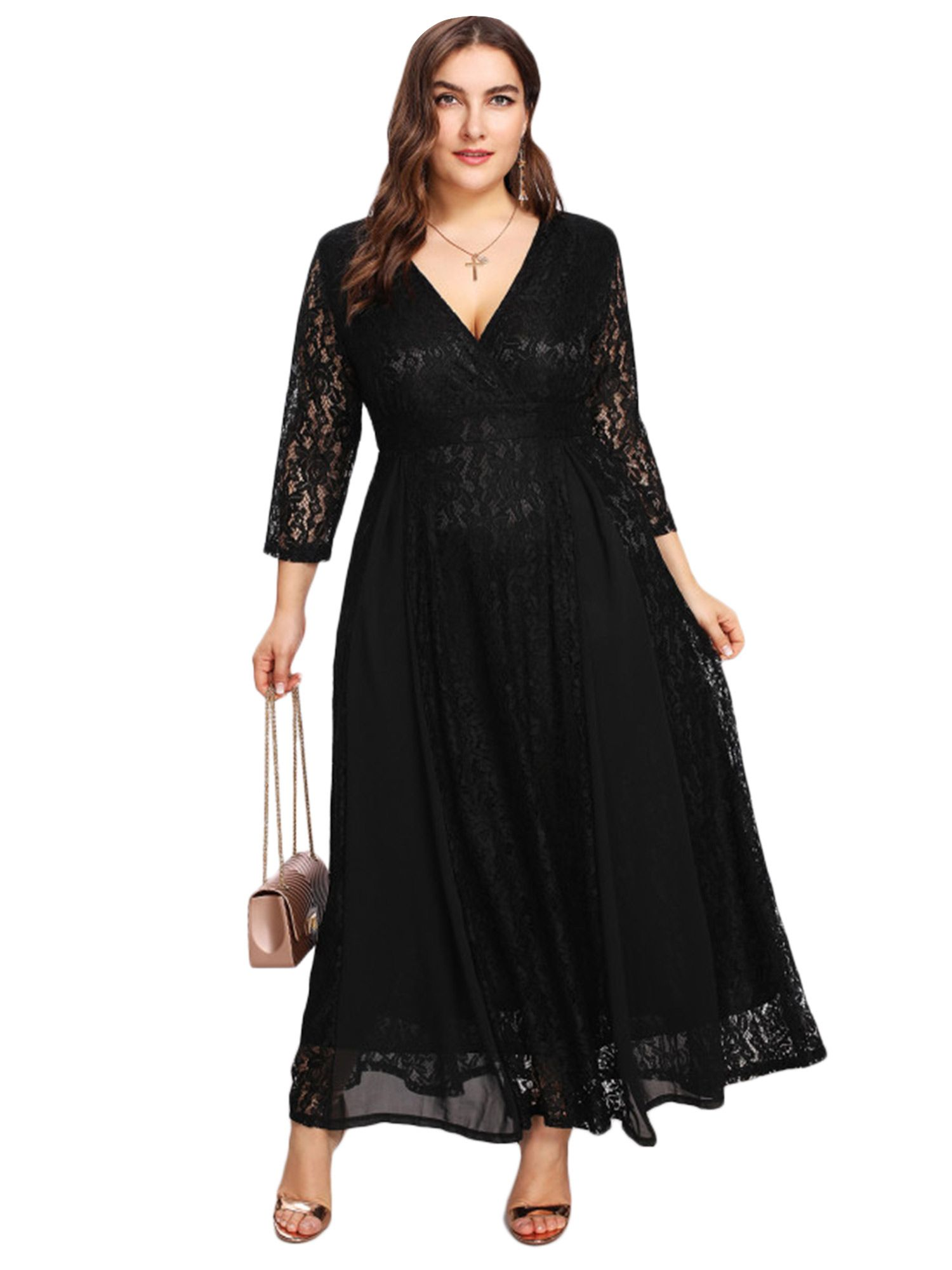 369a2315d3198 Plus Size High Waist Lace Overlay Evening Maxi Dress | Maxi dresses ...