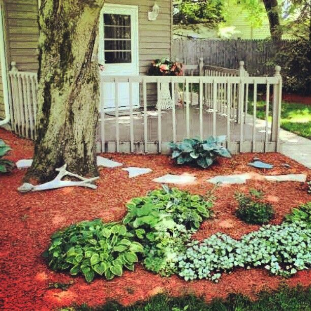 Red Mulch Outdoor Landscape Lighting Outdoor Landscaping