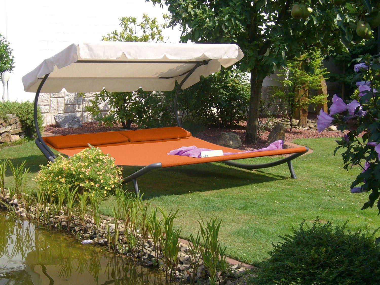 Doppel Gartenliege Sonnenliege Relaxliege Doppelliege Sonnendach Terrakotta Gartenliege Sonnenliege Sonnenschutzdach