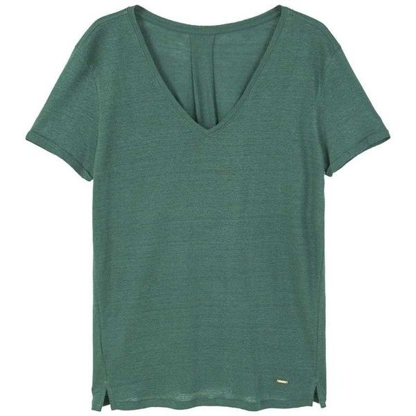 Flecked Linen-Blend T-Shirt (25 CHF) ❤ liked on Polyvore featuring tops, t-shirts, mango tee, green top, v-neck tee, mango t shirt and side slit top