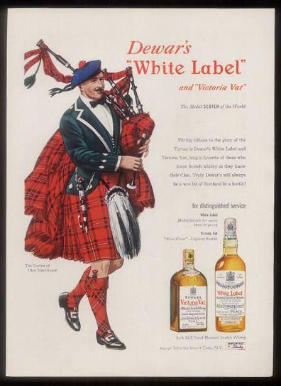 dewars  scotch whisky vintage ad | ... Dewar's White Label Scotch whisky Clan MacGregor bagpipes piper art ad