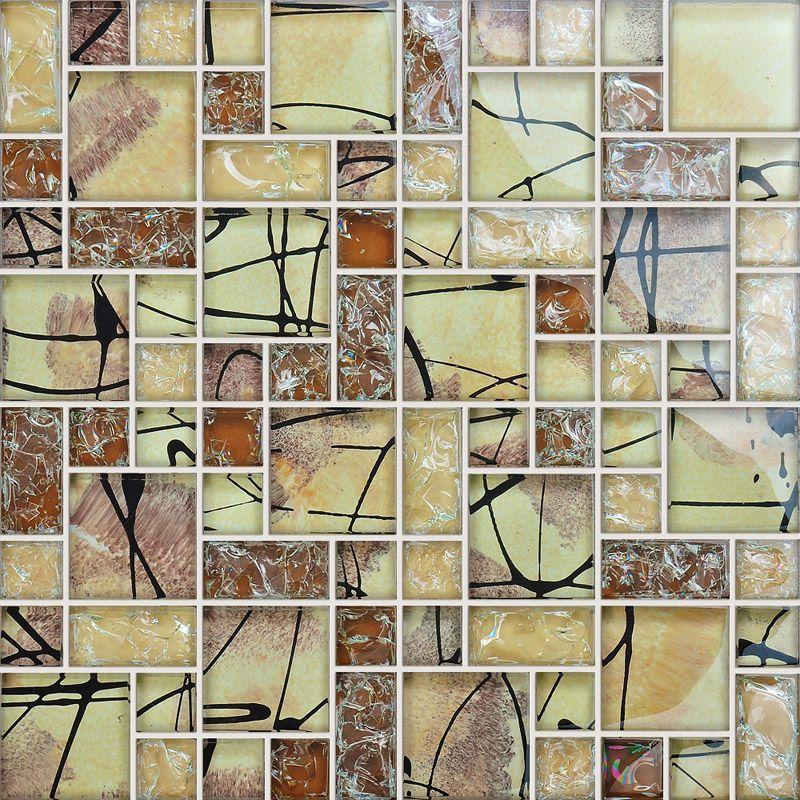 front of crystal glass tile vitreous mosaic wall tiles | Random ...