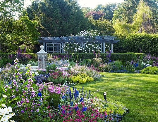 Beautiful Garden Retreat Boxwoods Delphiniums Dahlias