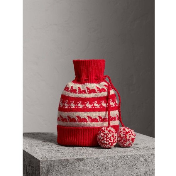 4d5e8a71a2a Burberry Drawstring Pom-pom Wool Cashmere Beanie (£175) ❤ liked on Polyvore
