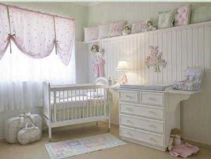 Decorar habitacion bebe pared con machimbre madera blanca - Cortinas para habitacion bebe ...