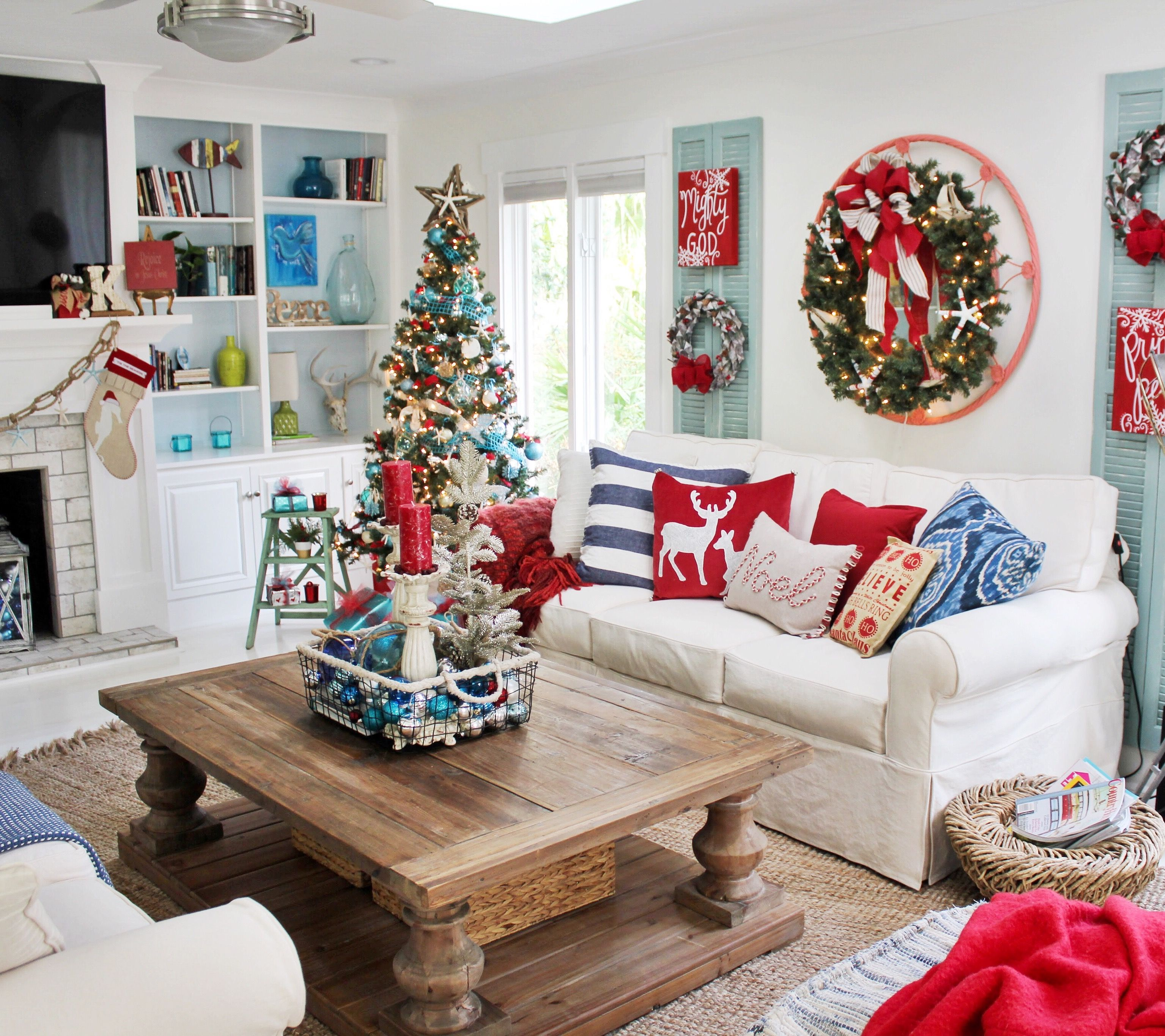Red Turquoise Not Just For Holiday Decor: Coastal Christmas Decor Featuring A Palette Of Red, Blue