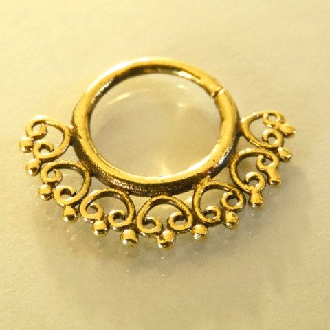 Septum Ring - Septum Jewelry - Septum Piercing - Septum Cuff - Indian Nose Ring - Indian Septum Ring - For Pierced Nose  New and beautifully septum for a pierced nose made of brass.  Can be wear as an earing as weil. $15.5