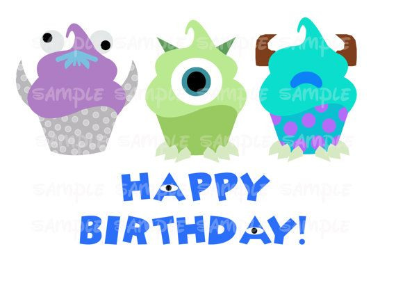 Cupcakes Monsters Inc Happy Birthday Disney Cupcake Printable Mickey Friends Sully Diy Printable Im Happy Birthday Disney Happy Birthday Birthday Card Pictures