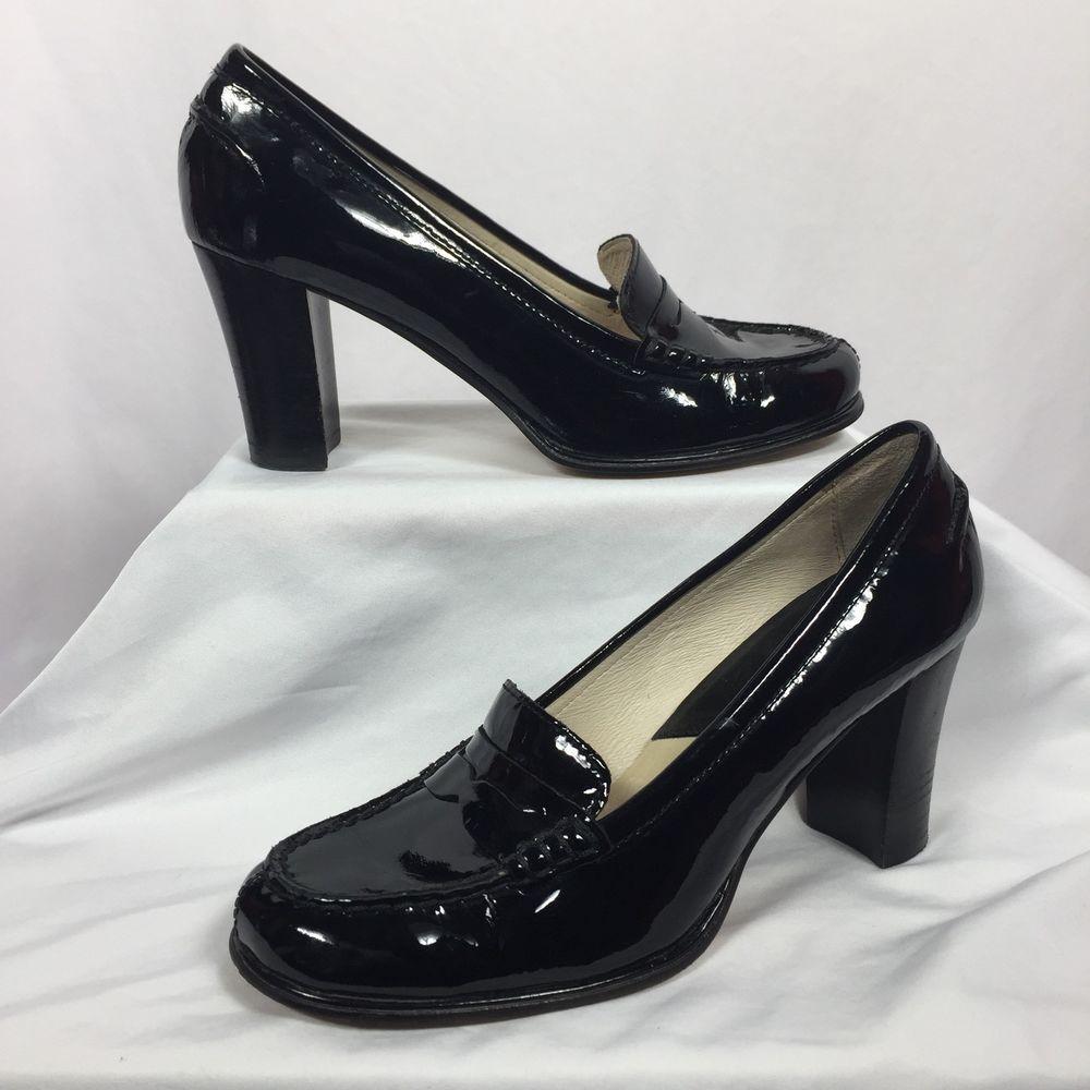 8c06bb0e0d09 MICHAEL Michael Kors Bayville Black Patent Leather High Heel Loafers Size  7.5  MichaelKors  LoaferPumps  Versatile