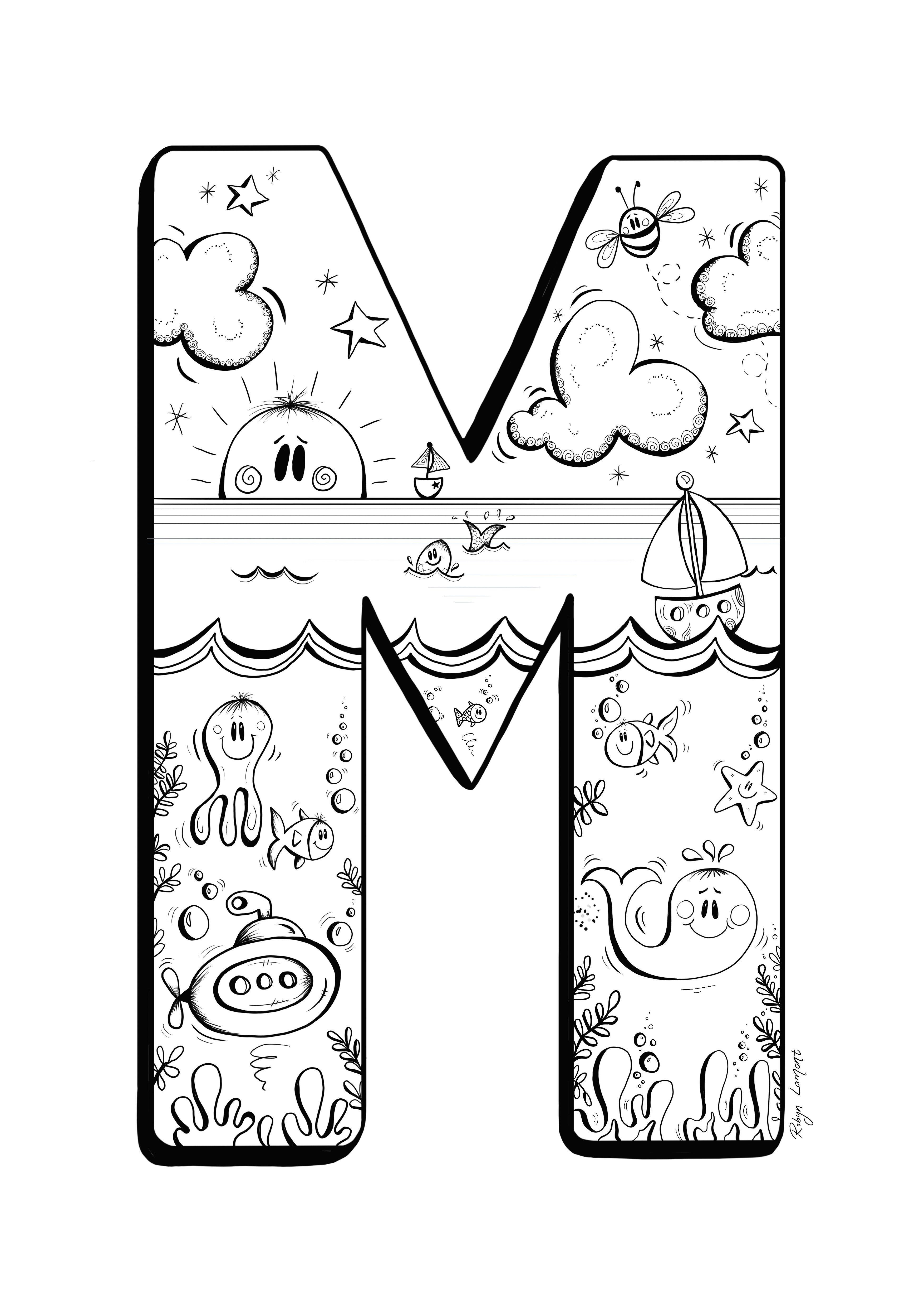 The Letter M Digital Download Monochrome Alphabet Art Print Children S Room Illustration Black And Alphabet Art Print Lettering Alphabet Illustration