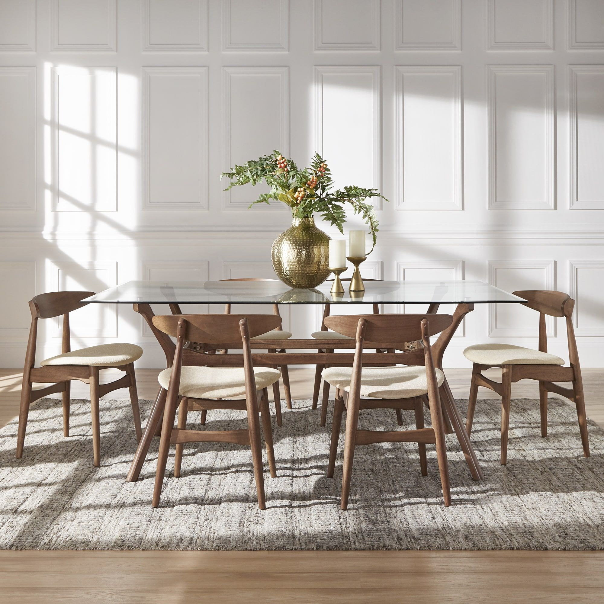 Nadine Walnut Finish Glass Table Top Rectangular Dining Set - Curved Back  Chairs by iNSPIRE Q Modern (5-Piece Set - 4 Beige Fabric Chairs), Size  5-Piece ...