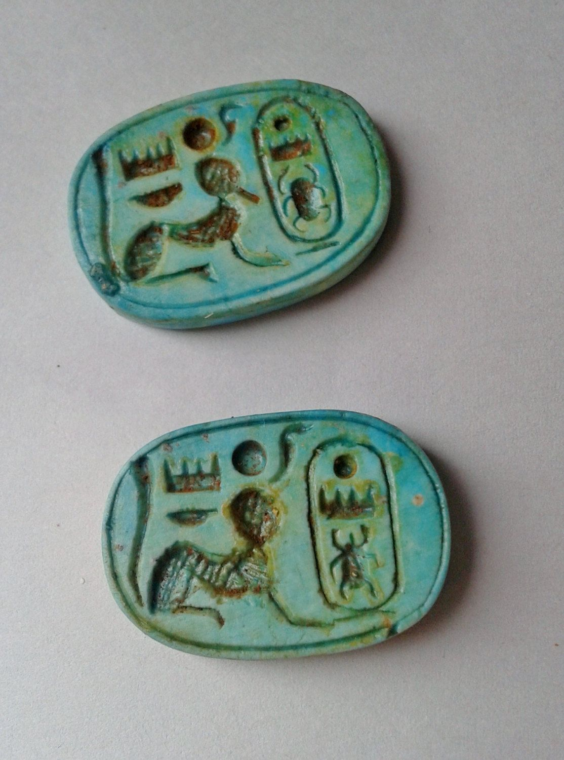 Pair Of Vintage Ancient Egyptian Faience Personalizes
