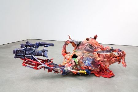 "Fabian Marcaccio, ""Paint-Fuck-film-kill-itself-Paintant"", 2009, pigmented inks on structural canvas and aluminum, alkyd paint and silicone"