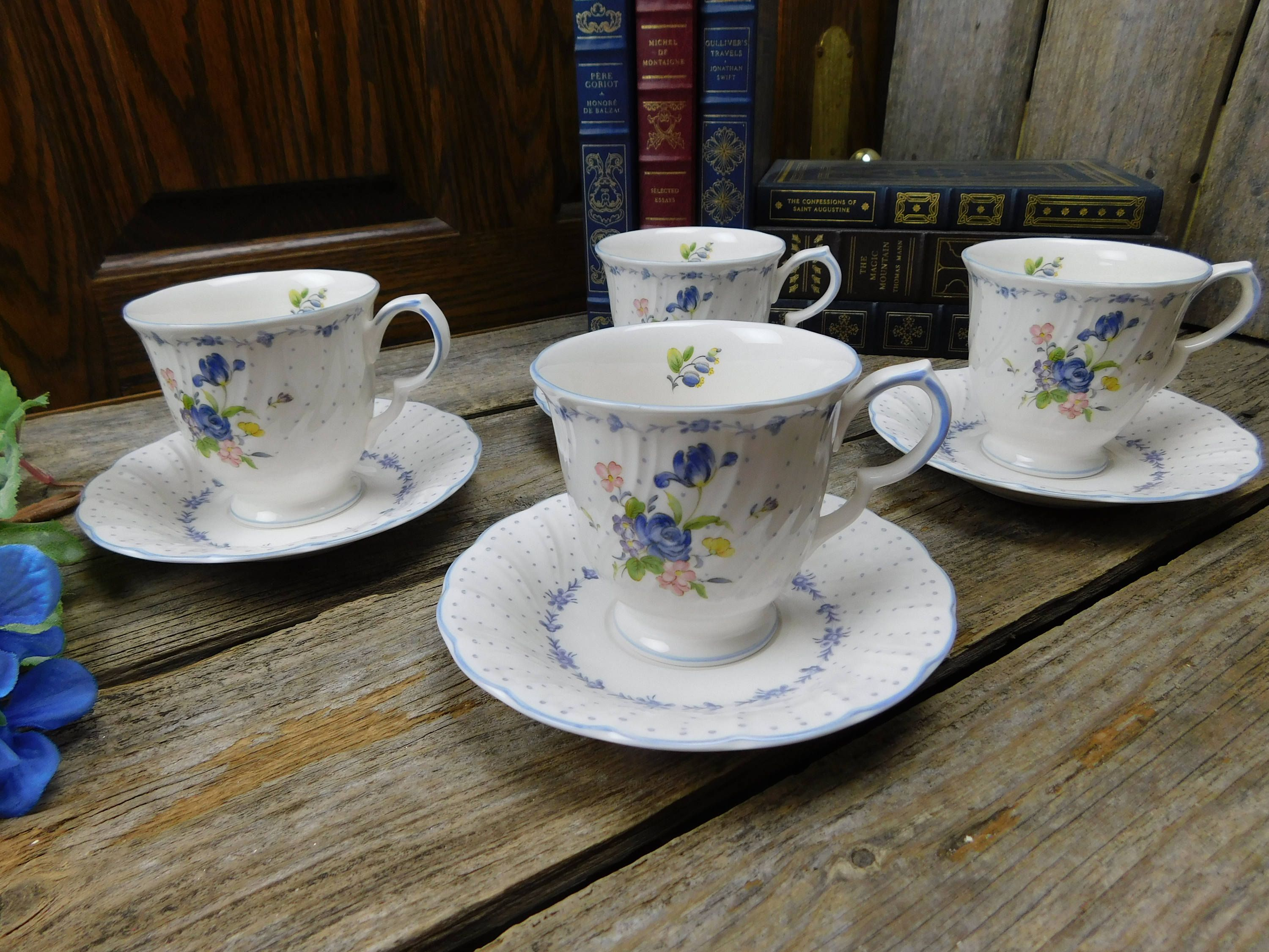 Set of 4 Vintage Nikko Tableware Blue Peony Footed Cups and Saucers by allthatsvintage56 on Etsy & Set of 4 Vintage Nikko Tableware Blue Peony Footed Cups and Saucers ...