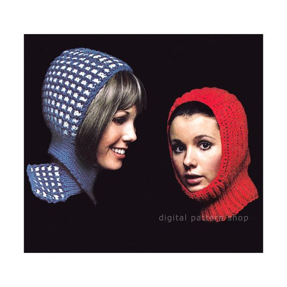 Knit Hat Pattern Two Womens Winter Hats, Scarfed Hood & Ski Helmet ...
