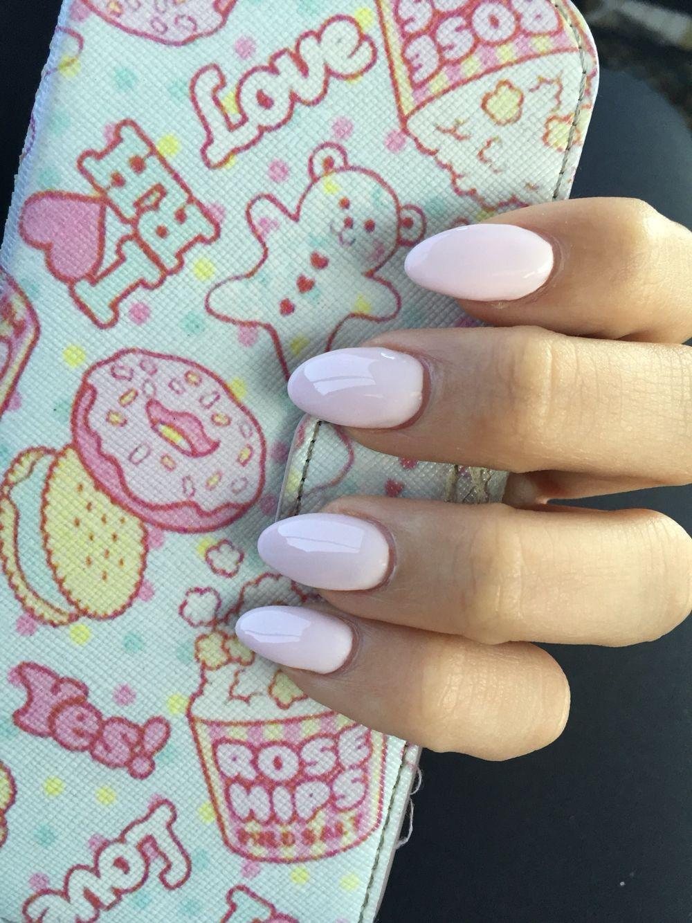 Cute light pink pastel nails Kawaii almond shaped gel acrylic ...