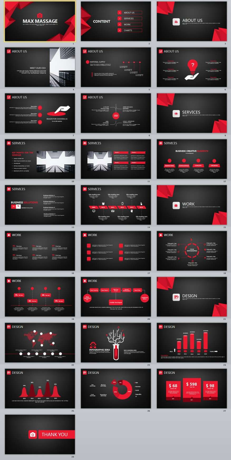 28 Red Black Business Powerpoint Template Simple
