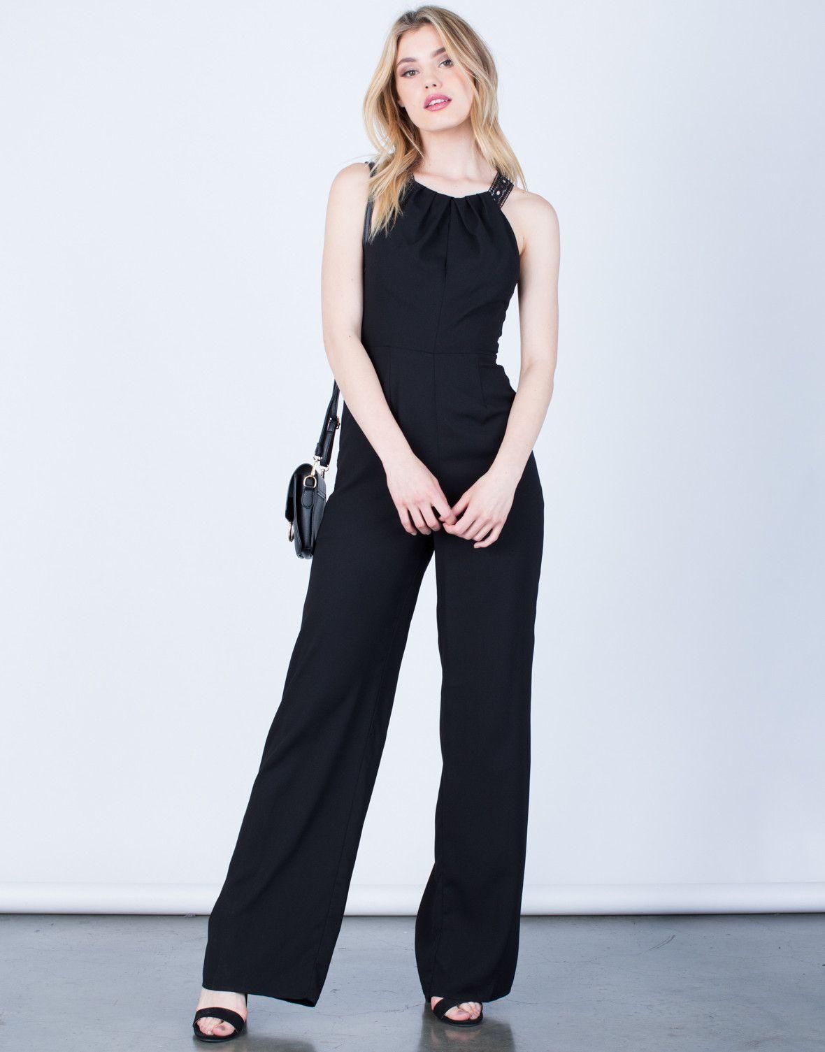 afde66aa038 Crochet Open Back Jumpsuit - Black Jumpsuit - Wide Leg Jumpsuit – 2020AVE