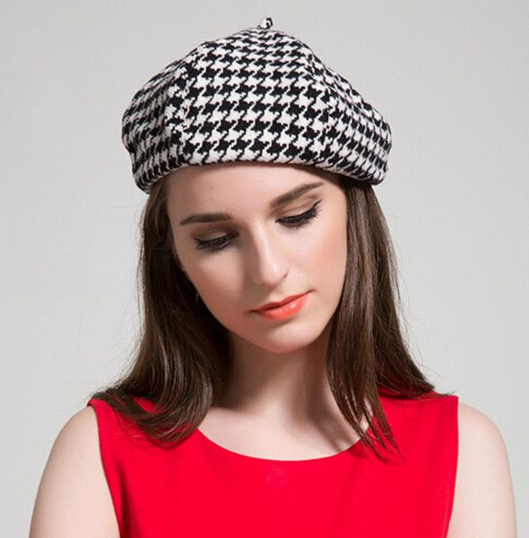 d45a26581174ce Houndstooth french beret hat for women black and white winter hats ...