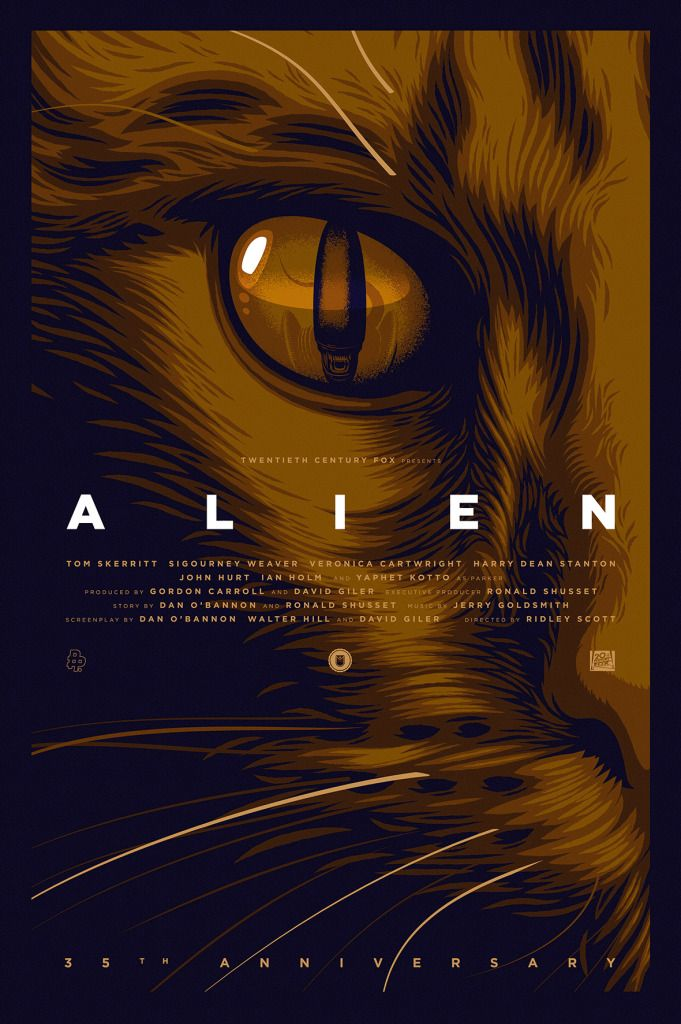 ALIEN: 35th Anniversary Tribute by: Thomas Walker Love these Jones designs :) Him being the ultimate survivor of Nostromo, deserves his own posters!