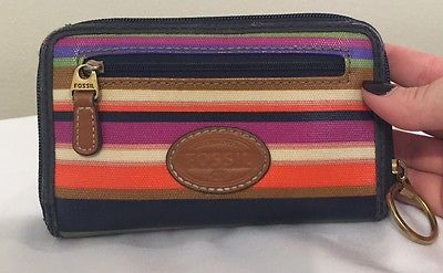 Fossil Wallet Clutch Striped Multi Color Nice! Designer Zippy! Free Shipping