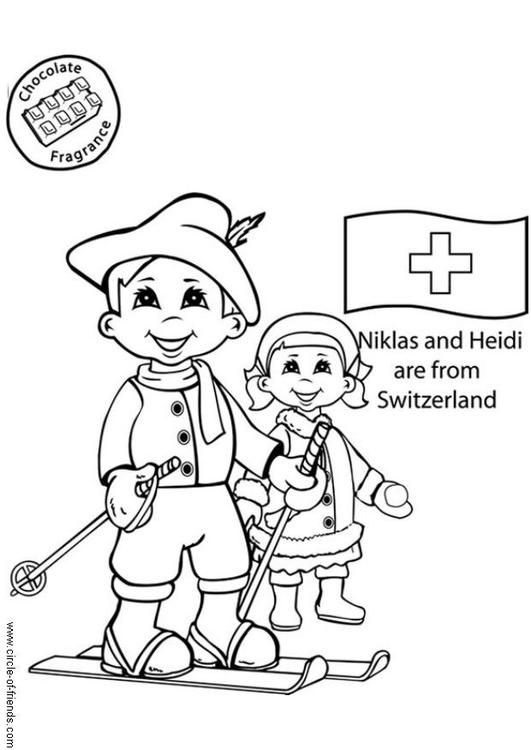 niklas and heidi from switzerland edupics coloring pages Japan Flag niklas and heidi from switzerland edupics