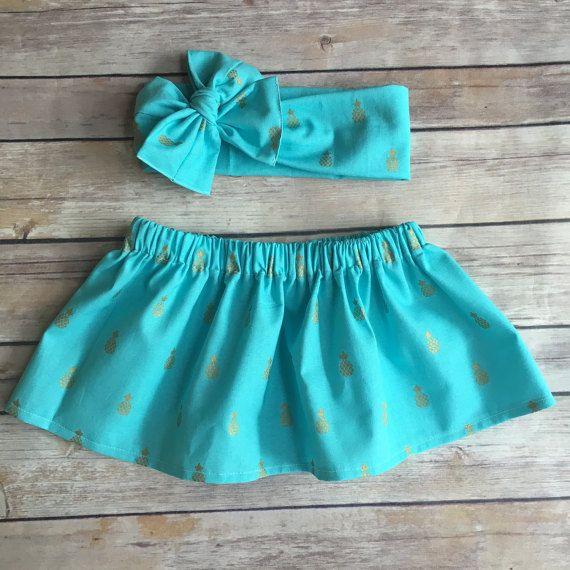 Turquoise Pineapple Skirt , Baby Pineapple Skirt , Gold Pineapple Skirt , Pineapple Outfit , Toddler Skirt
