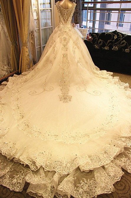 Princess Wedding Dress Large Train Lace Up Dresses Y Diamond Bridal