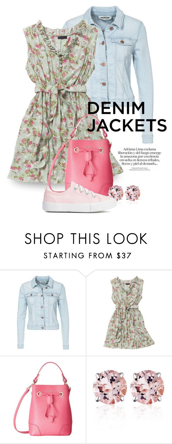 """""""Denim Jacket 1320"""" by boxthoughts ❤ liked on Polyvore featuring Noisy May, Joe Browns, Furla and Belk & Co."""