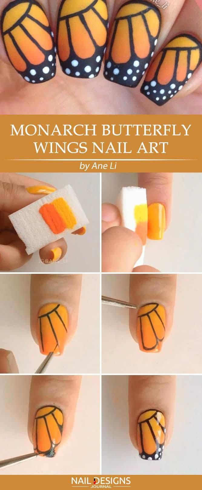 7 Beautiful Butterfly Nails Tutorials To Create A Masterpiece 3 Monarch Butterfly Wings Nail Art In Butterfly Nail Designs Butterfly Nail Art Butterfly Nail