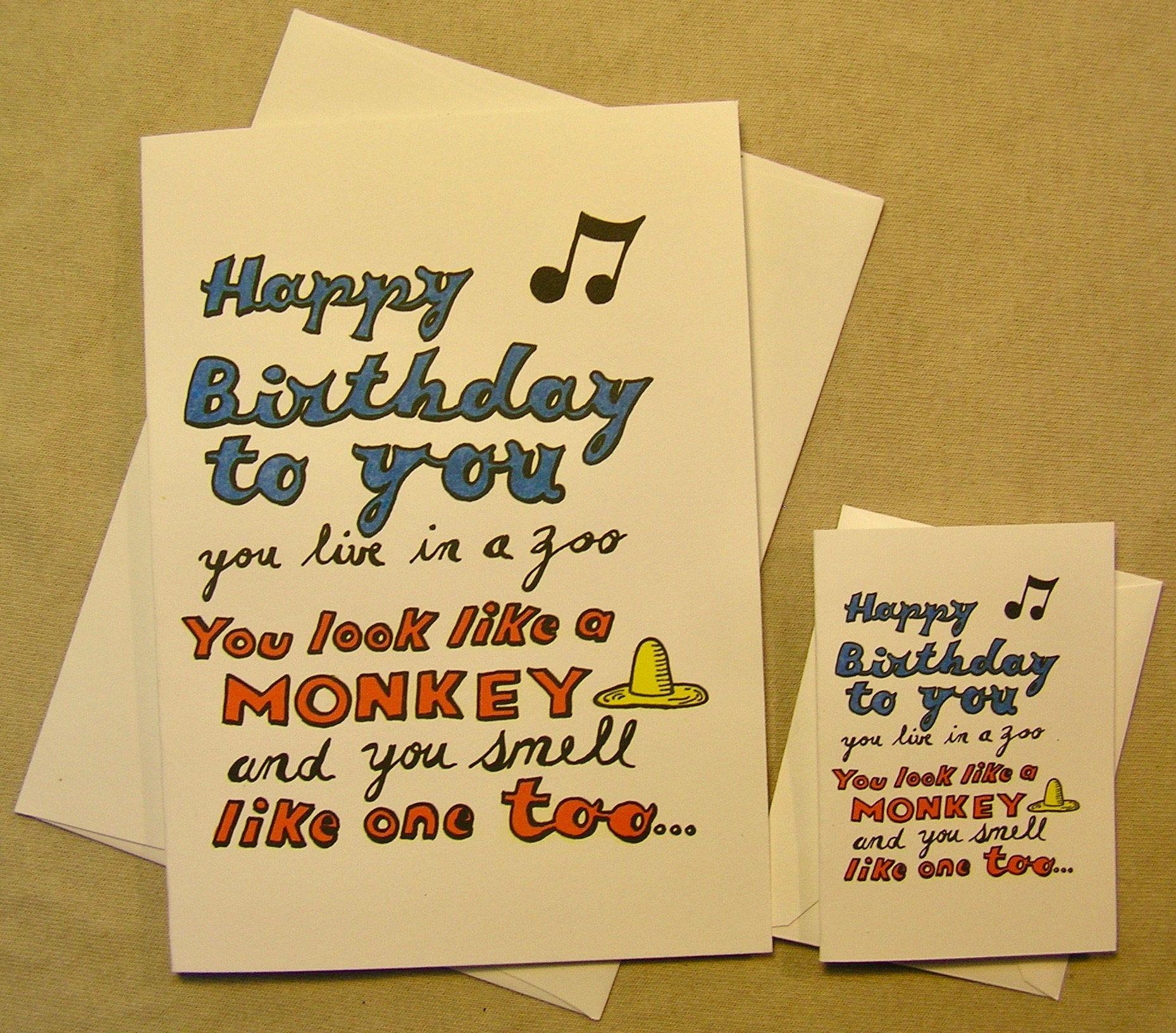Curious george birthday card happy birthday to you you live in a curious george birthday card happy birthday to you you live in a zoo regular size and mini a lunar eclipse cartoon birthday card bookmarktalkfo Images