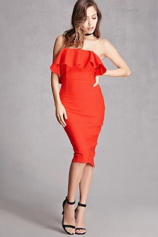 A knit dress featuring an strapless sweetheart neckline with a grip lining, boning inside the bust, a back zipper closure, a flounce bodice layer, and a back slit detail. This is an independent brand and not a Forever 21 branded item.