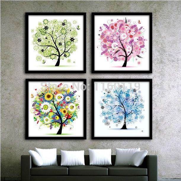 pas cher bricolage diamant peinture les quatre saisons arbres point de croix diamant rond. Black Bedroom Furniture Sets. Home Design Ideas