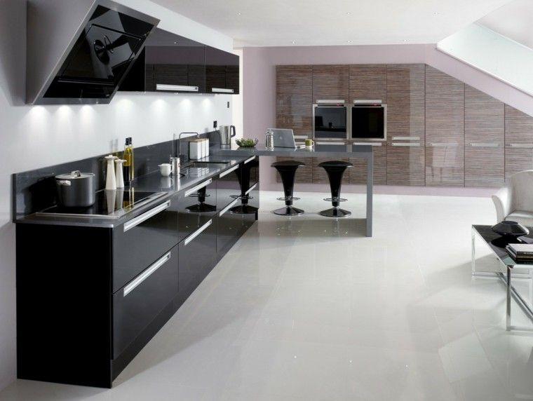 Cocinas blancas y negras - 50 ideas geniales a considerar