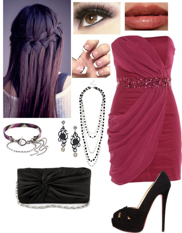 """dance-magenta and black color scheme"" by dfbrewer ❤ liked on Polyvore"
