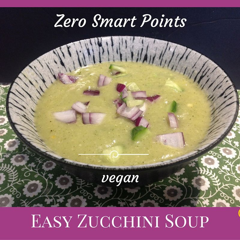 Quick and easy describes this simple zero points creamy zucchini soup. The six vegan ingredients are just literally thrown into a ...