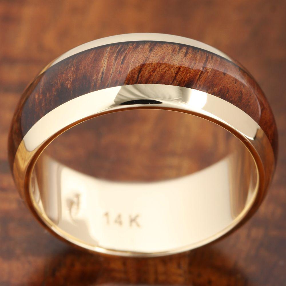 K solid yellow gold with koa wood inlay wedding ring mm makani