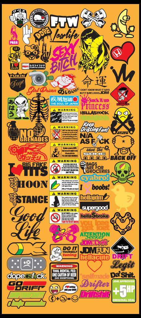 Jdm Car Decals Vector Files Eps Format Volume Door Vectorvinylshop Sticker Bomb Logo Sticker Sticker Art